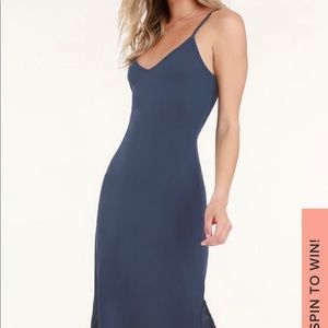 Navy Blue V-Neck Midi Slip Dress